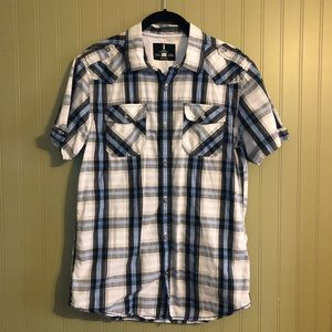 I Jeans by Buffalo Short Sleeve Plaid Button Down